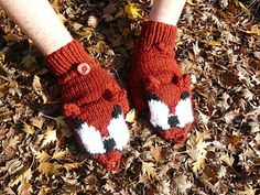These warm mittens feature adorable wolf or fox faces, which fold back to free up your fingers. The glove is constructed in-the-round, with the flap knitted flat, using intarsia colorwork.