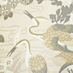 Herons Wallpaper Beige wallpaper with taupe and metallic silver heron and floral print.