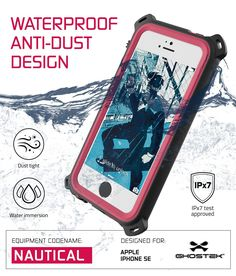 iPhone SE/5S/5 Waterproof Case, Ghostek® Nautical Series for Apple iPhone SE/5S/5 | Underwater | Shockproof | Dirt-proof | Snow-proof | Aluminum Frame | Adventure Ready | Ultra Fit | Swimming (Pink) Polycarbonate Shell with a Rubberized Spring Bumpers, Touch ID Compatible Slim Body Provides Layers of Ultimate Waterproof, Dustproof, Snow-Proof, Drop-Proof, Shock-Proof Protection (IP68 Certified) Six Colors to Choose From, Each Coming with a 3.5MM Headphone Jack Adapter & Lanyard Attached HD…