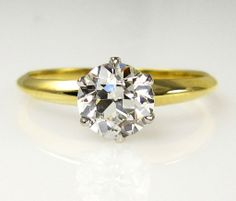 AUTHENTIC 1920s... TIFFANY & Co Vintage GIA Diamond Solitaire Engagement Wedding Ring Plat 18k