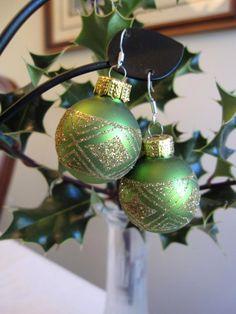 Christmas Earrings Green Christmas Bulb Earrings by SmithNJewels, $12.00