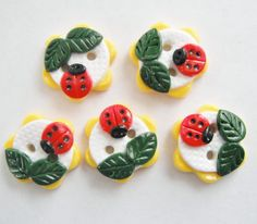 Button Bitsy Ladybugs handmade polymer clay buttons ( 5 ). $7.00, via Etsy.