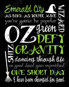 Printable Wicked Musical Digital Subway Art Typography Poster Decoration 11x14 and 8x10