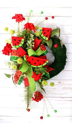 Excited to share this item from my #etsy shop: Summer Watermelon Wreath for Front Door, Watermelon slice decor, Spring Porch Wreath, Summer decor, Kitchen wreath, Summer Wall decor Moss Wreath, Grapevine Wreath, Spring Front Door Wreaths, Red Geraniums, Watermelon Slices, Greenery, Christmas Wreaths, Porch, Centerpieces