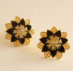 Black Enamel Earrings Floral Rhinestone by MaisonChantalMichael