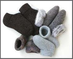 Pattern includes instructions for Adult, child and toddler felted slippers.