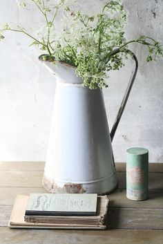 Enamel jug with wildflowers vignette and for more daily inspiration and updates on all things vintage, please come and say hi at https://www.facebook.com/SilverandGreyLoveVintage