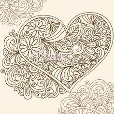 Hand-Drawn Henna Tattoo Heart Royalty Free Stock Vector Art Illustration