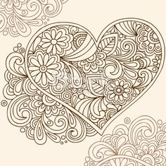 Hand-Drawn Henna Tattoo Heart Royalty Free Stock Vector Art Illustration