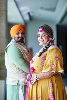 Indian plus size couple in Mustard yellow pink mehendi gown Wedding Wear, On Your Wedding Day, Wedding Suits, Wedding Attire, Wedding Bells, Wedding Dance Video, Plus Size Brides, Nice Curves, Curvy Bride
