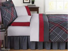Gray & Red Plaid Queen Comforter Set Bed in a Bag)
