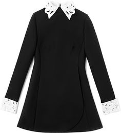 Valentino Long Sleeved Dress with Embroidered Collar and Cuffs - Lyst