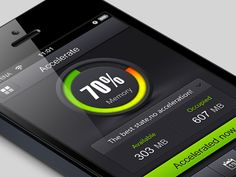 Beautiful iOS layout design. Love the green and black color scheme. Found on Dribbble. Accelerate