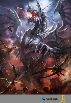 by Concept-Art-House : Invading Metal Dragon Mythical Creatures Art, Magical Creatures, Fantasy Creatures, Fantasy Character Design, Character Art, Fantasy Beasts, Dragon Artwork, Dragon Pictures, Fantasy Monster