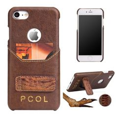 PCOL for iPhone 7 Luxury Ostrich Foot Top-layer Cowhide Leather Kickstand PU Leather Skin Hard Cover - Brown