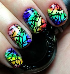 Nails by an OPI Addict: Rainbow Stained Glass. I want to do this right now!