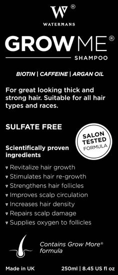 Scientifically proven ingredients: Biotin, Caffeine, Argan Oil, Rosemary Extract, Allantoin, Anageline.  We also include Antioxidants & Vitamins such as H, B7, B3, B5, B6, C and E  which are known to have a beneficial and protective effect on the scalp, and to strengthen the hair.