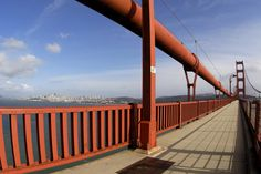 Golden Gate Bridge looking towards the city. We are visiting in September and my husband wants to walk across the bridge. I need to get over my issues with long bridges and water first. Yikes!