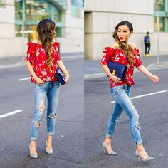 Jeans With Heels, Jean Top, Ripped Jeans, Fashion Bags, Off The Shoulder, Cool Outfits, Capri Pants, Romantic, Chic
