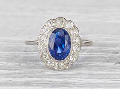 Three Carat Edwardian Sapphire Engagement Ring