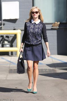 Stylish as usual: Reese Witherspoon donned yet another striking ensemble as she stepped out in Beverly Hills on Friday