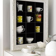 Picture frame turned shelf.