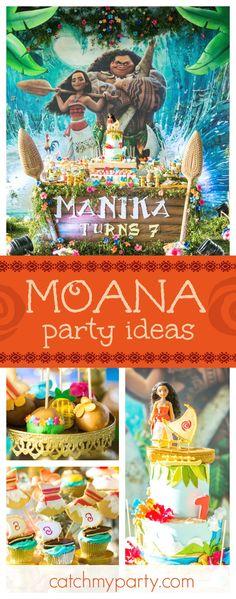 Events By Shero 's Birthday / Moana - Moana Birthday Party at Catch My Party Moana Theme Birthday, Moana Themed Party, Moana Party, Luau Party, Baby Party, 4th Birthday Parties, Birthday Ideas, 2nd Birthday, Theme Parties