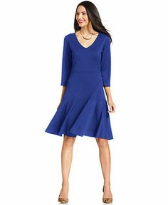 NY Collection Three-Quarter-Sleeve Textured A-Line Dress - Dresses - Women - Macy's