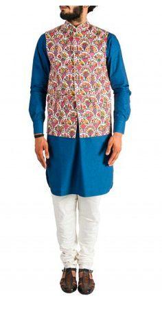 Blue Kurta with White Churidar and Red Nehru Jacket Nehru Jacket For Men, Nehru Jackets, Wedding Store, Wedding Wear, White Churidar, Mens Ethnic Wear, Indian Fashion, Mens Fashion, Indian Wear