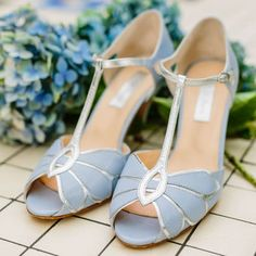Mimosa Leather T Bar Wedding Shoes - love the blue colour!