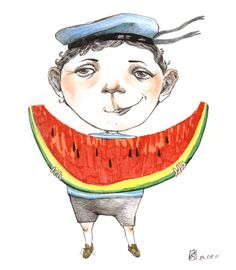 Nyam, nyam... mengem síndria / Ñam, ñam... comemos sandía / Yum, yum ... eat watermelon