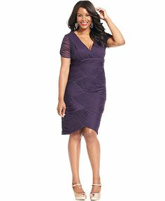 Adrianna Papell Plus Size Dress, Short-Sleeve Pleated Sheath - Plus Size Dresses - Plus Sizes - Macy's