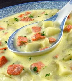 Salmon Chowder -   This is typical of the soups that are made on the San Juan Islands; a gift from the Scandinavian immigrants who settled in the Pacific Northwest