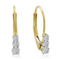 Amanda Rose AGS Certified 10K Gold Three-Stone Diamond Leverback Earrings /4cttw, Women's
