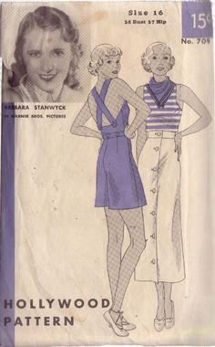 Hollywood 709 Barbara Stanwyck 30s 3Pc sports outfit:top,shorts&skirt Sz16/34/28/37 Misses' sports ensemble consists of bodice,shorts & skirt.Suspenders in one w/the bodice front,crisscross & button to low back.Shorts are dart fitted at waistline &button to bodice.Straight skirt buttons at center front. used c/c env fair condition.30+3.28 nsld? 8/11/14