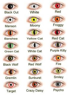 Black out, white, red, manson, moony, froggy, banshee, yellow cat, red cat, green cat, white cat, purple kitty, black wolf, red wolf, fire, gremlin, sunburst, smiley, target, crazy daisy, psycho