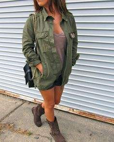 Army Chic: Military Army green jacket with combat boots via A Fabulous Challenge