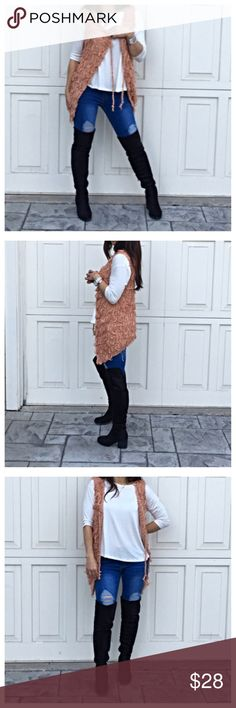 Paris chic vest From my buying trip in Paris great knit open tie front vest PLEASE Use the Poshmark new option you can purchase and it will give you the option to pick the size you want ( all sizes are available) BUNDLE and save 10% ( no trades price is firm unless bundled) Jackets & Coats Vests