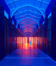 Vibrant blue and orange lights clash in this installation by Australian designer Flynn Talbot, which takes over the V&A's Prince Consort Gallery throughout the London Design Festival.