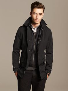Full zip and snap placket. Zip-front inner bib with ribbed standing collar. Long sleeves with snap-tab cuffs. Exterior zip and flap pockets. Fully lined. Black Mac, Mens Lightweight Jacket, Revival Clothing, Men's Clothing, Latest Mens Fashion, Men Fashion, Fashion Menswear, Francisco Lachowski, Mens Trends
