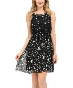 Look what I found on #zulily! Black Stars A-Line Dress #zulilyfinds