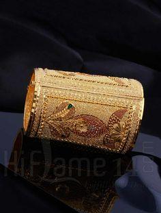 Gold Kada with Traditional Design