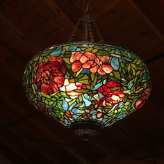stained-glass elegant lighting #vineyards #stainedglass #red #tiffanyreproduction #tiffanystyle #peonies #lamps