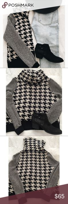 Lucky Brand Cowl Knit Sweater How great is this sweater!?  Pair it with some black skinny jeans & boots!!  Throw it under a leather jacket!  This sweater is new without tags!  It's got that great houndstooth pattern that will go with many things!!  I love the cowl neck & striped arms!  Size M Lucky Brand Sweaters