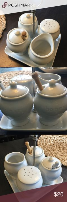 Pottery Barn sugar and cream tray NWOT Small tray holding creamer, honey, sprinkles, and sugar with a silver handle Other