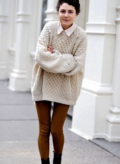 Oversized cable knitted sweaters, fashion women cream loose ...