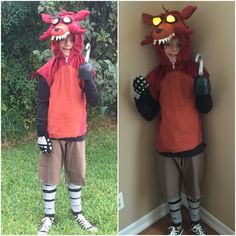 Diy home made foxy fnaf five nights at freddys costume light up eyes
