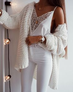 Chellysun White Chunky Casual Cardigan Sweater knits outfits for fall and winter boyfriend style for women White Jeans outfit Spring outfits summer outfits school Mode Outfits, Trendy Outfits, Fashion Outfits, Fashion Clothes, Classy Outfits, Fashion Accessories, Fashion Mode, Look Fashion, Fashion Trends