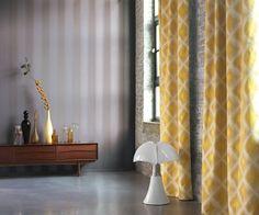 Collection EMPIRE STATE : Losange, jaune, rayures, gris, élégant, moderne, raffiné, intemporel, tissus