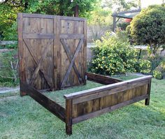 Headboard Vintage Barn Door Replica, with Siderails and Foot.- Headboard Vintage Barn Door Replica, with Siderails and Footboard By Foo Foo La La - Rustic Furniture, Home Furniture, Antique Furniture, Modern Furniture, Cheap Furniture, Furniture Ideas, Outdoor Furniture, Discount Furniture, Furniture Makeover